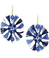 Two-Tone Navy/Light Blue Multi Tassel Fishhook Earrings