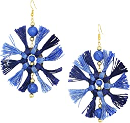 Two-Tone Navy/Light Blue Multi Tassel Fishhook Earrings
