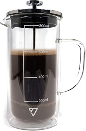 French Press Coffee Maker 800 ml (27 oz) by TechLead (Double Wall Glass, Stainless Steel, Clear)