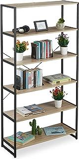 Relaxdays Librería Estantería Industrial con 6 Baldas, Aglomerado/Metal, Marrón, 180 x 95 x 35 cm