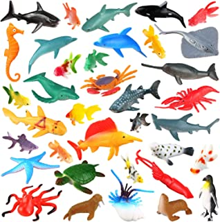 [36 Pack] Ocean Sea Animals Bath Toys for Party Favor Supplies - 2-4 inch Rubber Ocean Creatures Figureswith Marine Octopus Shark Fish Sea Life for Child Education, Party Bag Filler, Birthday Gift