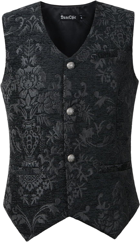 DarcChic Mens Gothic Vest Waistcoat Steampunk Victorian
