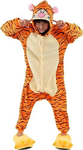 Kigurumi Unisex Tier-Onesie, Kapuzenkostüm, Schlafanzug, Orange - Tiger - Größe  MEDIUM (155-165CM)