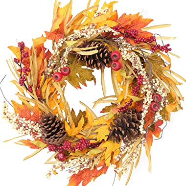 idyllic Artificial Pine Cone Wreath Autumn Wreath with Green and Yellow Leaves Flower Wreath for Front Door Indoor Wall Weddi