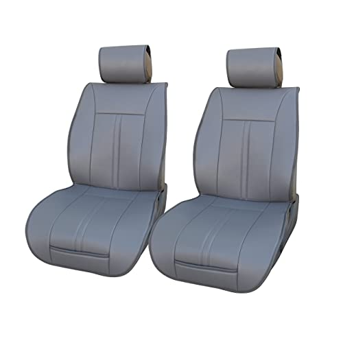 120902 Grey-2 Front Car Seat Cover Cushions Leather Like Vinyl, Compatible to Nissan