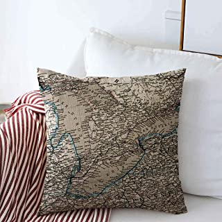 Decorative Linen Throw Pillow Covers Travel Erie Antique Stieler Map Great Lakes Earth Vintage Ohio Michigan Old Ontario Buffalo 16