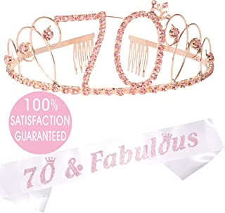70th Birthday Tiara and Sash, Happy 70th Birthday Party Supplies, 70 & Fabulous White Glitter Satin Sash and Crystal Tiara Birthday Crown for 70th Birthday Party Supplies and Decorations (Pink)