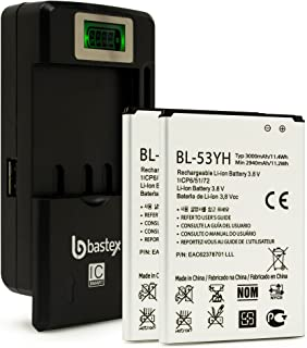 Two (2pk) BasTex Rechargeable 3000mAh Li-ion Battery for LG G3 Optimus+Plus One (1) Bastex External Dock LCD Battery Charger