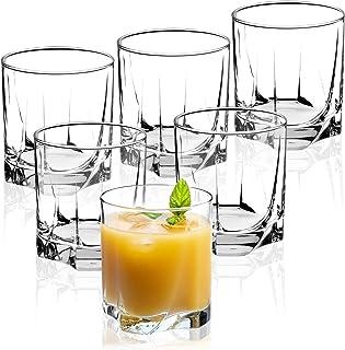 KADAX Trinkgläser aus hochwertigem Glas, 6er Set, Wassergläser, dickwandige Saftgläser, geriffelte Gläser für Wasser, Drink, Saft, Party, Cocktailgläser, Getränkegläser niedrig, 365ml