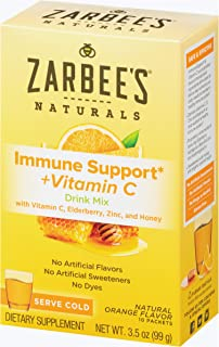 Zarbee's Naturals Immune Support* & Vitamin C Drink Mix with Zinc & Honey, Natural Orange Flavor, 10 Packets