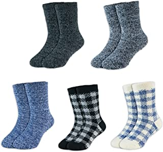 Hot Feet Toddler 5pk Crew Thermal Socks w/Soft Thick Brushing Inside, Gripped/Non Gripped Combo
