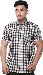 JPF Smart Men's Cotton Regular Fit Formal Shirt for Men - Casual Half Sleeves Shirt for Men/Cotton Checkered Short Sleeve ...