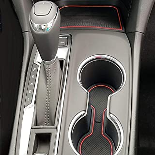 Custom Fit Cup and Door Compartment Liner Accessories for 2018 2019 2020 Chevy Equinox 12-pc Set (Red Trim)