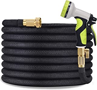 """TOCZIM 100ft Flexible Garden Hose - Superior Strength 3750D, 4-Layers Latex with 3/4"""" Solid Brass Connectors, 9 Function S..."""