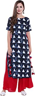 Oomph! Rayon Kurti Palazzo Sets for Women - Straight Kurta with Tassled Dori - Blue