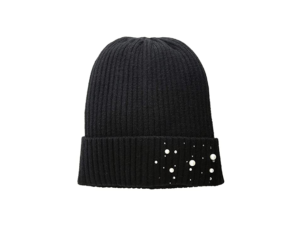 Collection XIIX Pearls and Stones Sleek Beanie (Black) Beanies