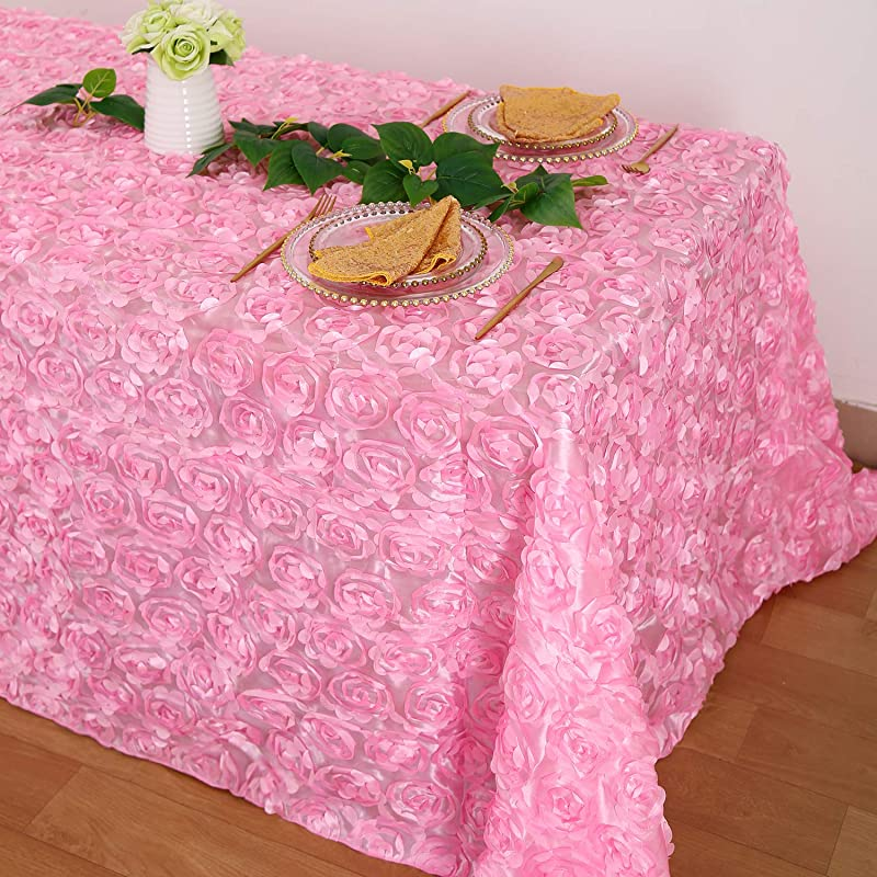 B COOL Rose Tablecloth Rosette Pink 90 X132 3D Delicate Romantic Overlay For Wedding Christmas Birthday Party Home Decoration
