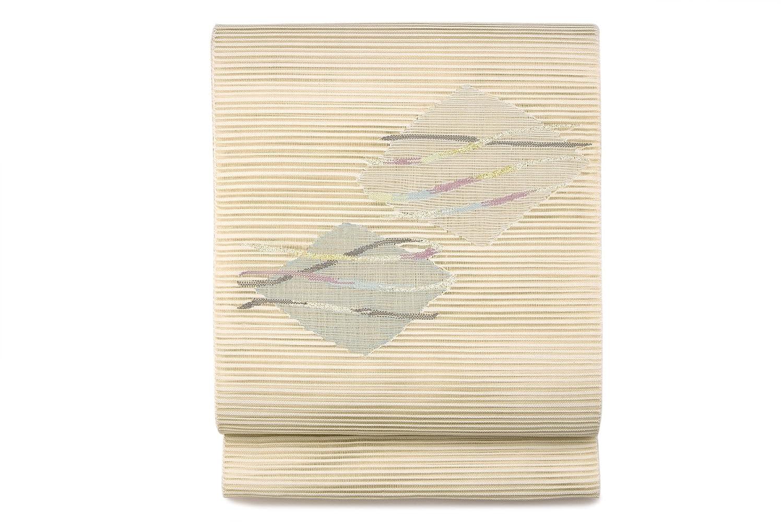 (ソウビエン) 名古屋帯 八寸名古屋帯 薄茶色 ベージュ 灰色 薄紫 薄緑 菱 波 透かし織り 絽 綴れ 三通柄 お太鼓柄 夏向け カジュアル なごや帯 8寸 仕立て上がり 松葉仕立て