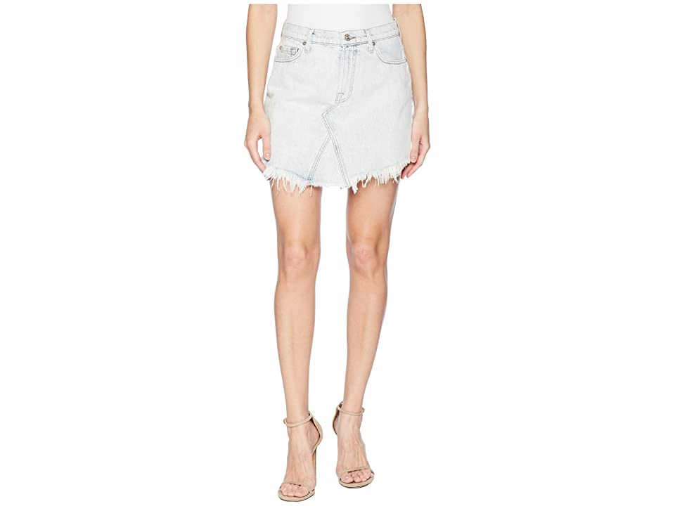 7 For All Mankind Scallop Frayed Hem Skirt in Desert Sun Bleached 6 (Desert Sun Bleached 6) Women