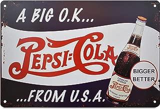 K&H Pepsi USA Retro Metal Tin Sign Poster Wall Display 12X8-Inch