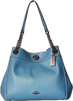 코치 에디 턴락 체인 핸드백 - 샴브레이 COACH Turnlock Edie in Polished Pebble Leather,DK/Chambray