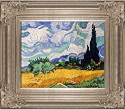 """La Pastiche Wheat Field with Cypresses by Vincent Van Gogh Oil Painting, 18"""" x 20"""", Renaissance Champagne Frame"""