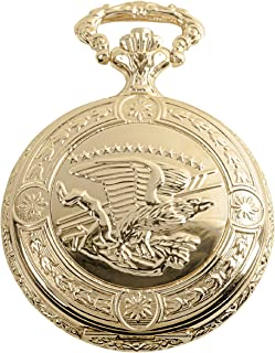 Daniel Steiger Flying Eagle Luxury Vintage Hunter Pocket Watch with Chain - Hand-Made Hunter Pocket Watch - 18k Gold Finish - Engraved Flying Eagle Design - White Dial with Black Roman Numerals
