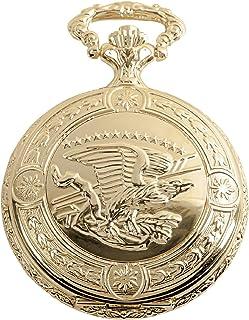 دانیل استیگر پرواز عقاب لوستر Vintage شکارچی ساعت جیبی با زنجیره ای - دستبند ساعت شکارچی جیبی - پایان 18K طلا - حکاکی پرواز عقاب طراحی - شماره گیری سفید با اعداد سیاه و سفید رومی