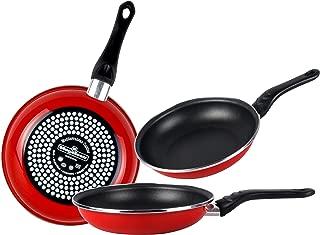 Desconocido Magefesa Praga Juego de Sartenes 18Ø 20Ø 24Ø de Acero esmaltado, Antiadherente bicapa Reforzado, Color Rojo Exterior. Apta para Todo Tipo de cocinas, incluida inducción, Granate, 18-20-24
