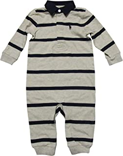 RALPH LAUREN Baby Boys Rugby Stripe Coveralls Navy/White