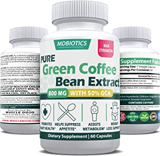 Green Coffee Bean Extract Max Strength w/GCA 1600mg/Day - Supports Weight-Loss, Blood Sugar, Hearth Health* - Gluten Free,...