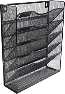 EasyPAG Mesh Wall Hanging File Organizer Holder 5 Tier Vertical Pocket Magzine Rack with Tray,Black