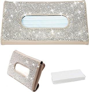 Aphbrada Bling Car Sun Visor Tissue Box Holder, Rhinestone Masks Dispenser Holder for Car, Crystal Sparkling Napkin Holder Car Interior Accessories Gift for Women Girls (Beige)