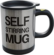 Self Stirring Mug- Reusable Auto Mixing Cup with Travel Lid for Protein Mix, Bulletproof Coffee, Chocolate Milk, Hot Cocoa...
