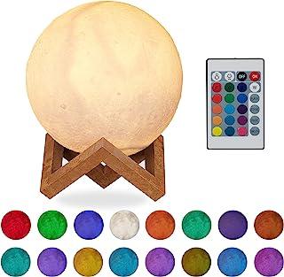Relaxdays Lámpara de luna 3D, 16 colores, Ajustable, Táctil, Inalámbrica, Con soporte, 15 cm, Blanco