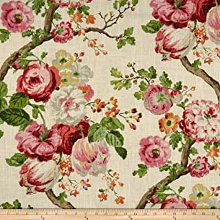 Stone washed print floral linen fabric by the yard