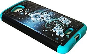 For Kyocera Hydro Air C6745 Hybrid Sparkle Bling Protector Phone Cover Case + Happy Face Phone Dust Plug (Hybrid Sparkle Bling Aqua Teal Flower)