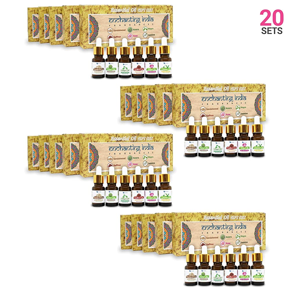 ワックス飢饉地下Aromatherapy Fragrance Oils (Set of 20) - 100% Pure & Natural Therapeutic Essential Oils, 10ml each (Sandalwood, Rose, Saffron, Kewra, Mogra, Jasmine) Express Shipping