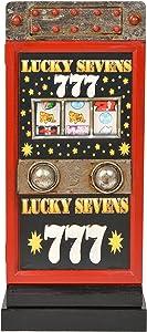 ts-ideen Mobiletto Comodino Colonnina porta CD-DVD in Rosso stile retro motivo Slot machine 68 x 30 cm