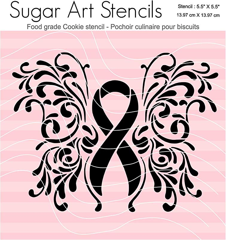 Breast Cancer Awareness Ribbon Cookie Stencil Butterfly FT0064