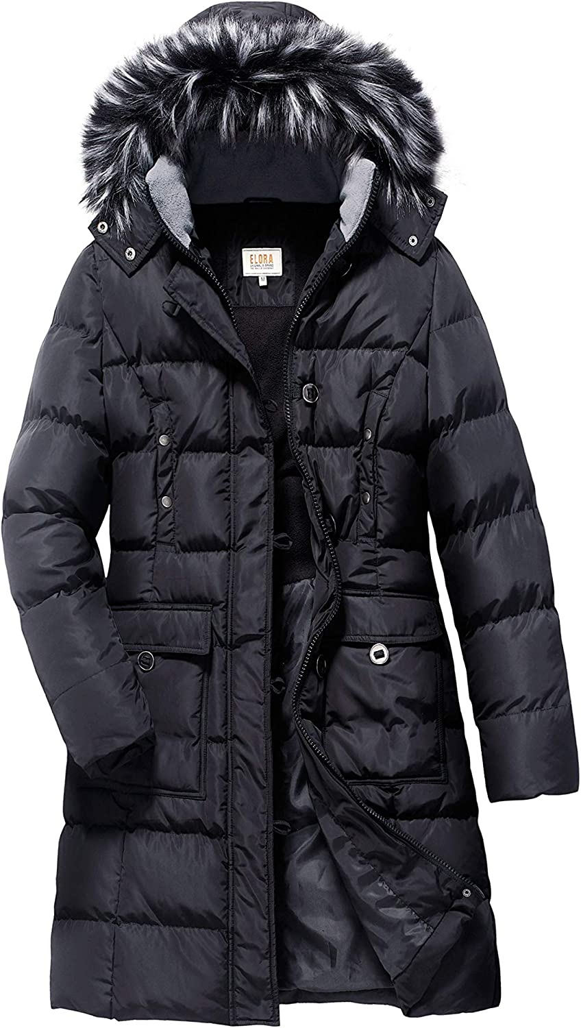 ELORA Women's Plus Size Winter Puffer Cargo Pocket Coat Fur Trim Removable Hood