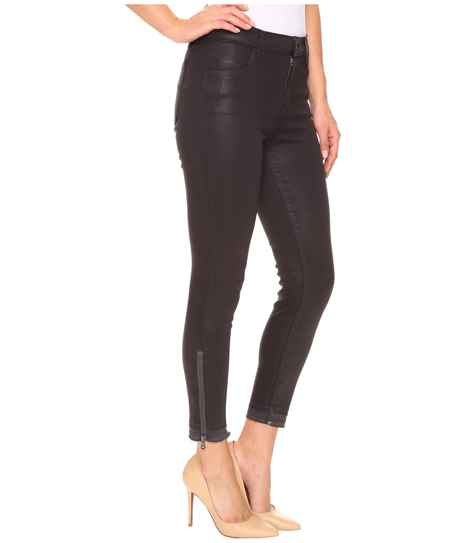 High rise skinny zip cropped jeans