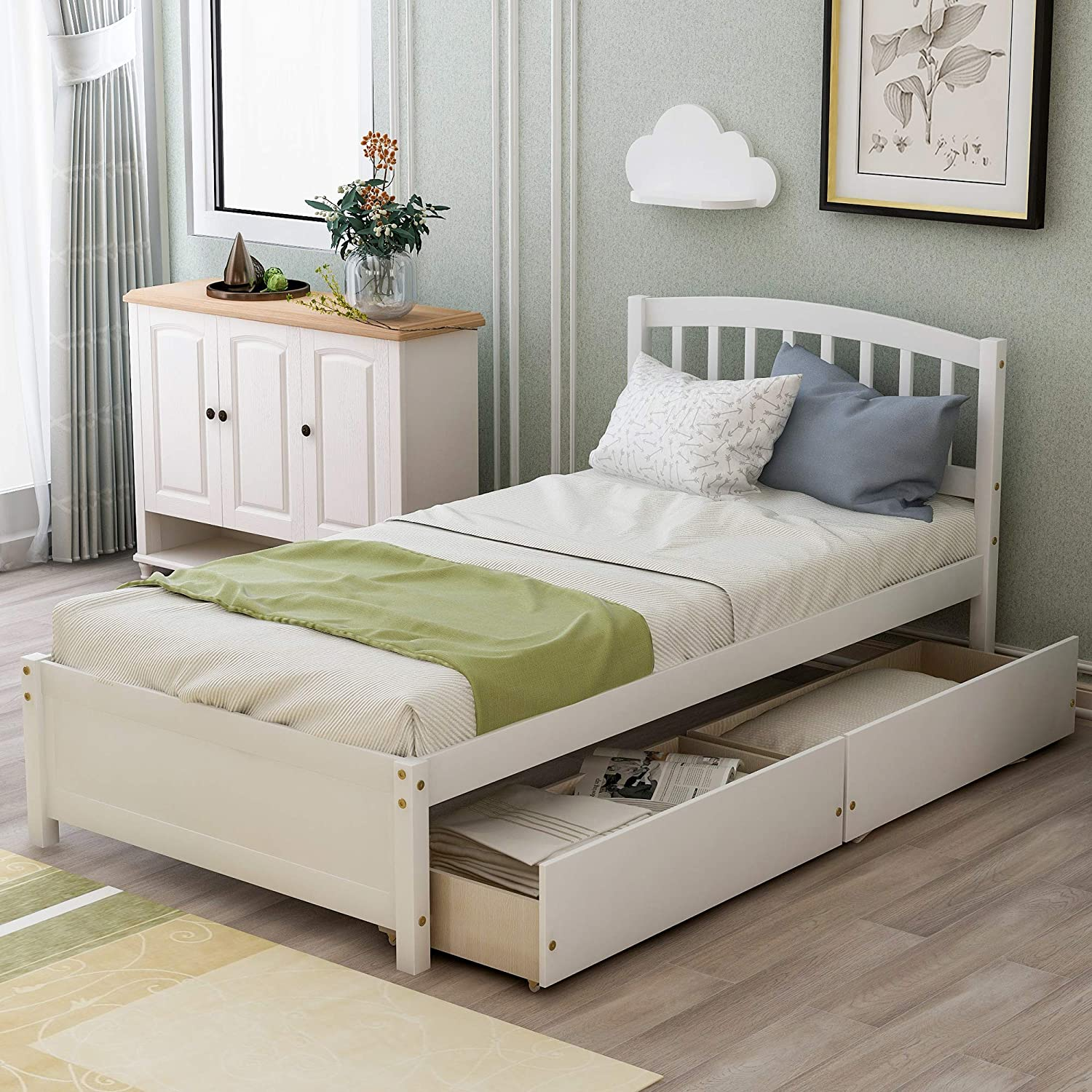 Merax Solid Wood Twin Size Free Shipping New Platform Bed Two Wooden Drawers with Albuquerque Mall