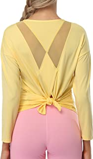 ATTRACO Womens Tie Back Yoga Tops Workout Exercise Sports Running Tank Yellow L