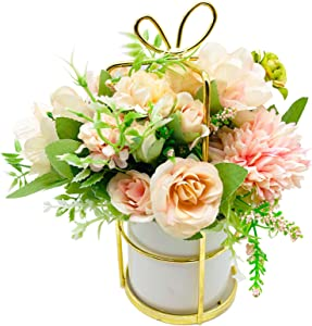 GSD Artificial Flowers in Vase Flower Arrangements with Stainless Steel Vase Silk Rose Hydrangea Bouquet Faux Flowers Table Centerpieces for Dining Room Kitchen Decoration, Pack of one, (Pink)