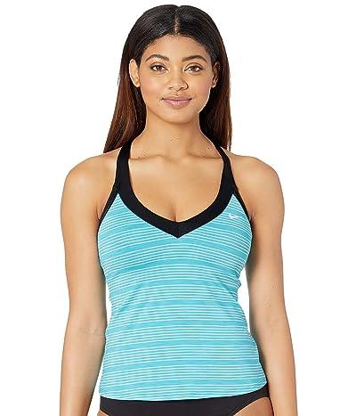 Nike 6:1 Heather Stripe V-Neck Tankini (Light Blue Fury) Women