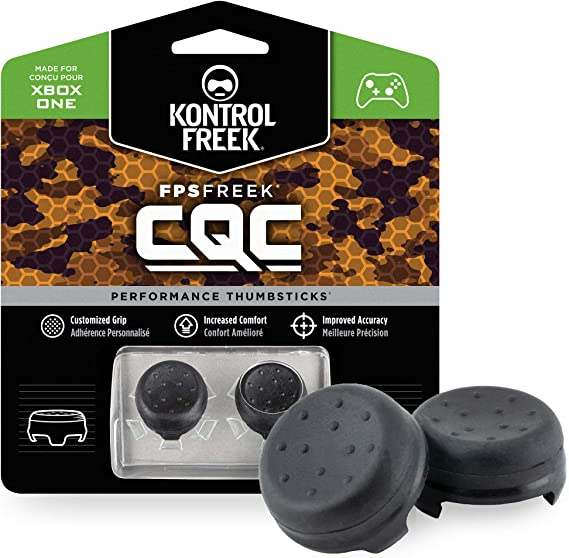 KontrolFreek FPS Freek CQC for Xbox One Controller | Performance Thumbsticks | 2 Mid-Rise Concave | Black