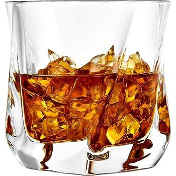 JoyJolt Aurora Crystal Whiskey Glass – Twisted Whiskey Glasses - Set of 2 Old Fashioned Liquor Glasses – Crystal Scotch Whisky Glasses for Bourbon – 8.10 ounces Whiskey Drinking Glasses
