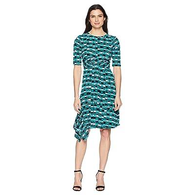 Donna Morgan 3/4 Sleeve Printed Jersey with Waist Gathering (Jade/Lavender Multi) Women