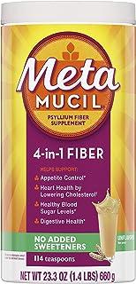 Metamucil, Natural Psyllium Husk Powder Fiber Supplement, Plant Based, 4-in-1 Fiber for Digestive Health, No Sweeteners, 1...
